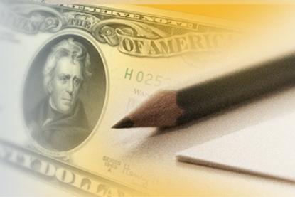 Dollar bill with pencil overlay