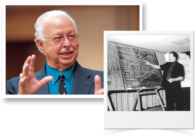 Two photos of an old Dr. Hersey and a young Dr. Hersey lecturing