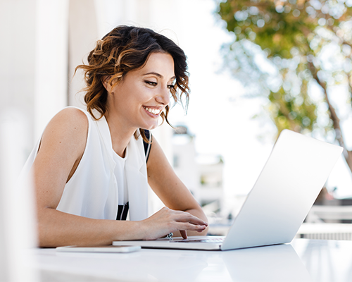 business woman enjoying virtual training