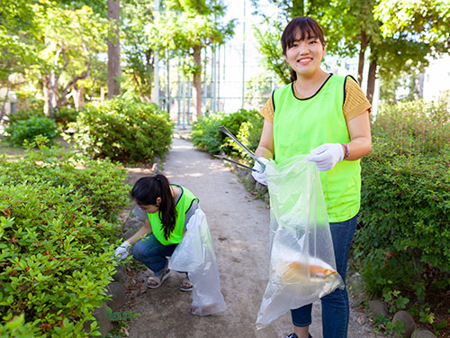 Young women cleaning up a park